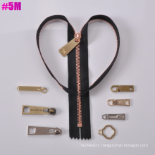 Y Tooth, One Way Open Metal Zipper 5#, Long Chain