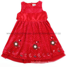 Red color 100% cotton quality fashion design holiday fully lined embroidered baby girls' dress