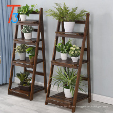 folding wood triangle display shelf for shop flower pot display