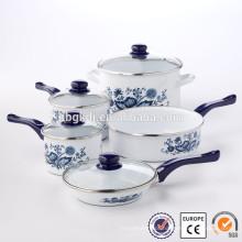 Esmalte brilhante Pan lava cozinha pan pedra conjunto