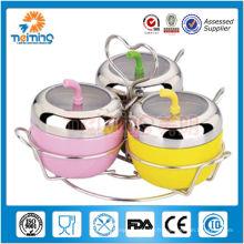 3 bocaux Assaisonnement en pot en acier inoxydable / assaisonnement pour bouteille avec couvercle / acier inoxydable Assaisonnement pour pot / salière