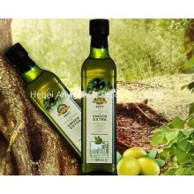 Botella de aceite de oliva verde rectangular de 500 ml, botellas de vidrio de aceite comestible