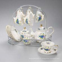 Juego de té de porcelana con estante de metal JXSK005