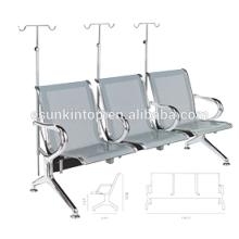 Silla de hospital para commerical usado, apoyabrazos de aluminio y patas de diseño de tres plazas (KS3BB-3)