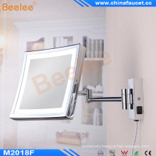 Square Folding Ajustable Wall Bathroom Cosmetic Mirror with LED Light