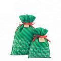 Christmas Green Custom Print Non Woven Gift Bag