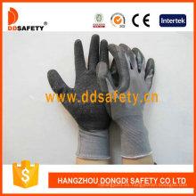 Nylon gris con guantes de trabajo de látex negro Dnl108
