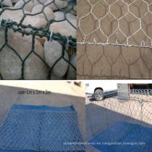 Cesta revestida de Gabion del PVC galvanizado / caja de Gabion / Gavión de Galfan