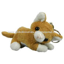 New plush, lying brown cat key chain toy, made of soft plush and pp padding