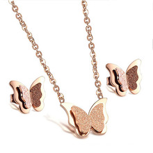 Romantic Butterfly Necklace Earring Jewelry Sets,Fashion Stainless Steel Women Engagement Accessories