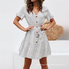 Fashion Polka DOT Print Summer Women High Waist Bohemian Dresses