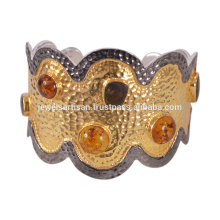 Latest Design Amber And Ammolite Gemstone 925 Solid Silver Bangle