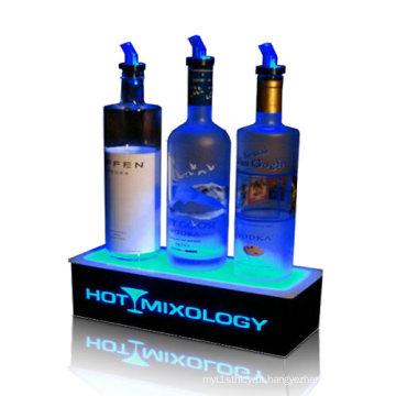Plinth de acrílico leve de LED para vinhos, caixa de exibição LED de plexiglass