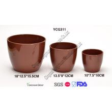 Cerâmica marrom cor vasos de flores conjunto de 3