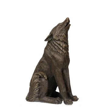 Aniaml Bronze Sculpture Wolf Roar Decor Brass Statue Tpy-725