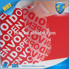 Popular Customized Box Seal Tamper Proof Anti-counterfeit different colour void sticker