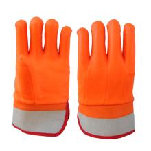 Hi-Vis Orange PVC Glove Sandy Finish Safety Cuff