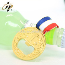 China fábrica profissional barato rodada liga de zinco liga de medalha de vinho de vinho garrafa de cerveja com fita