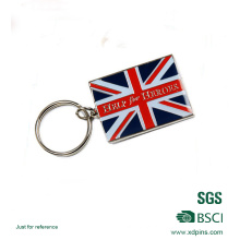 Corrente chave de alta qualidade barata do esmalte da bandeira do Reino Unido para o presente