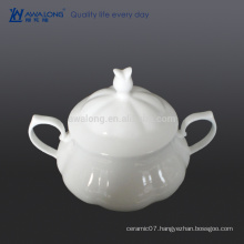 white plain bone china dinner stock pot with lid