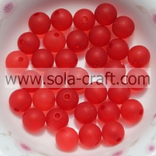 Excellentes ornements 8MM Transparent Rouge Cristal Plastique Matte Boule Perles Par Chinois Exportateur