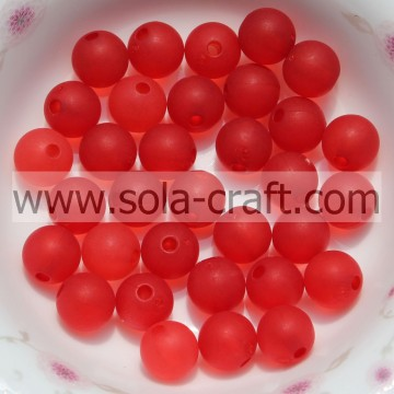 Excellent Ornaments 8MM Transparent Red Crystal Plastic Matte Ball Beads By Chinese Exporter