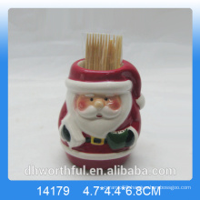 Wholesale ceramic toothpick holder with santa design for kitchen