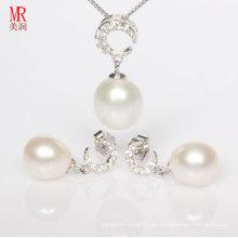 925 Silber Süßwasser Perle Schmuck Set, Anhänger, Ohrringe