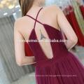 Eleganter dunkelroter tiefer V-Ansatz Isolationsschlauchbügel reizvolle Damen westliche Abnutzungskleider mit hohem slift