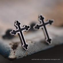 925 Sterling Silver Cross Earrings Stud No Piercing Joyería de moda