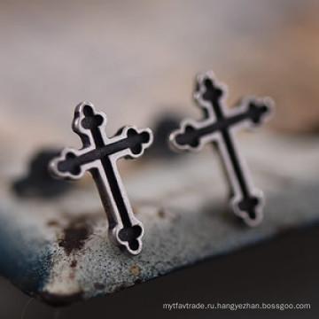 925 Серебро Серьги Серебряный Крест Серьги Нет Пирсинг Ювелирные Изделия Мода