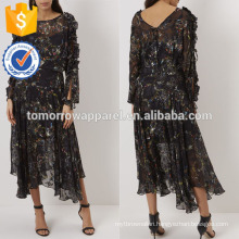 New Fashion Black Floral Print Midi Dress Manufacture Wholesale Fashion Women Apparel (TA5260D)