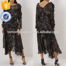 Новая мода черный цветочные печати Миди платье Производство Оптовая продажа женской одежды (TA5260D)