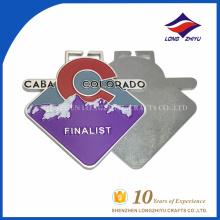 Placa de prata acabamento de cores finalizador fofos medalhas feitas sob encomenda