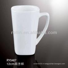 Tasse en céramique carrée de 130ML, tasse blanche en gros