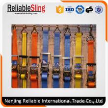 Polyester Webbing Material Adjustable Ratchet Cargo Strap with Endless Loop or Metel Hooks