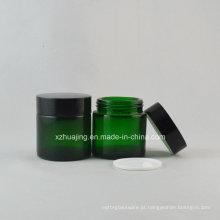 30g redonda frasco cosmético de vidro de creme de pele verde