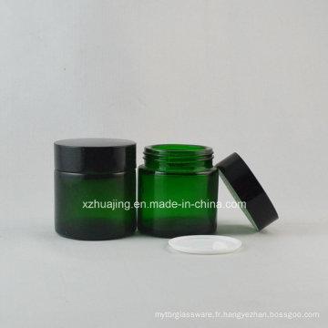 30g rond vert peau crème cosmétique bocal en verre