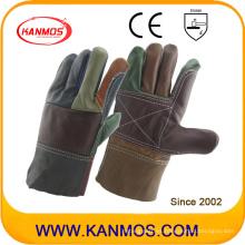Guantes de seguridad de trabajo industriales de cuero de cuero de vaca de arco iris (31011)