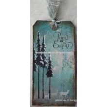 Blue watercolor pattern flocon de neige nuit vintage joyeux noël papier décoratif étiquette cadeau