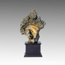 Sculpture en bronze animal Petite tête de cheval Statue en laiton Tpal-003