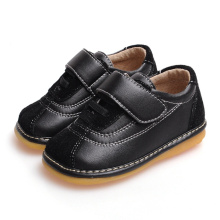 Black Suede Baby Boy Shoes Soft couro genuíno interior