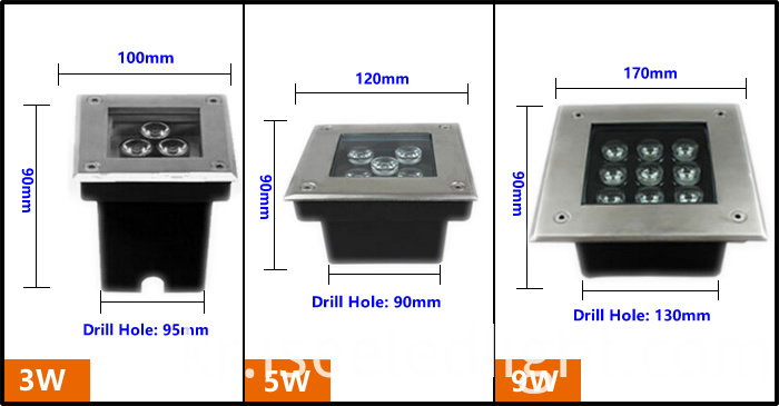 LED Underground light Dimension
