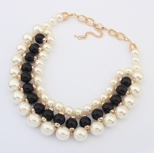 Punk Design Fashion Gold Metal Thick Chains White Imitation Pearl Beads Choker Necklaces beaded jewelry wholesaler