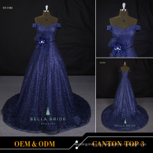Guangzhou factory wholesale sparkling solvery printed long prom A line evening dress for women