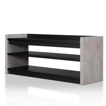 Grey and Black Wood Modern Shoe Cabinet Design