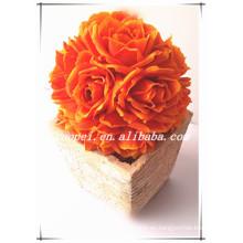 Nueva bola de la flor color de rosa de la boda artificial de la fabricación de fasion PE hecha en China