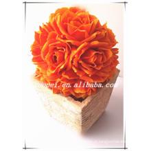 Novo fasion PE handmaking artificial casamento rosa flor bola feita na china