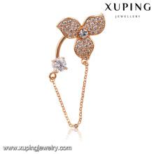00019-xuping Mode hängende Broschen, goldene Diamantbrosche mit Kette