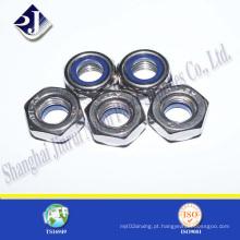 Porca de nylon hexagonal revestida de zinco
